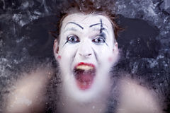 Scary face screaming mime Royalty Free Stock Photo