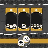 Scary faces Halloween golden badge set Royalty Free Stock Photo