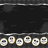 Scary faces Halloween horizontal card poster with bottom border Stock Photos