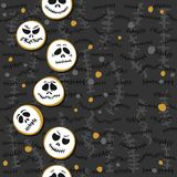 Scary faces  Halloween vertical seamless border on dark Royalty Free Stock Photo