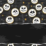 Scary faces wreath Halloween horizontal card poster Royalty Free Stock Images