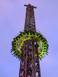 Scary fairground ride. Tower of fear fairground ride at dusk Royalty Free Stock Images