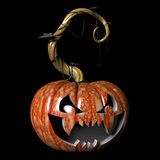 Scary Fangs. Crazy expressions and characters carved on a Halloween pumpkin Royalty Free Stock Photo