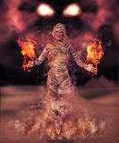 Scary Female Mummy Creates Havoc. 3D rendering of scary mummy in a desert creating a dramatic sandstorm royalty free illustration