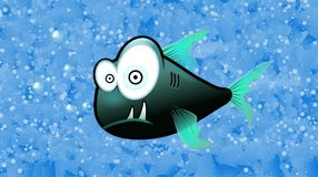 Scary Fish With Blue Background. Scary fish clipart on a blue bubbly water themed background Royalty Free Stock Photos