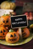Scary food and text happy halloween stock image