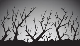 Scary forest. Illustration of scary forest in black and white Stock Photos