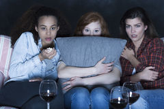 Scary Friday night spent with flatmates Royalty Free Stock Photo