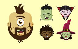 Scary funny halloween faces of five characters stock illustration