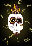 Scary and funny illustration of skull for Halloween and Dia de muerte on black background royalty free illustration