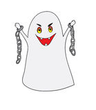 Scary ghost with chains on a white background Royalty Free Stock Image