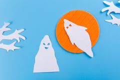 A scary ghost shadow flying. Made of paper royalty free stock photos