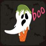 Scary ghost shaped ice cream with flying bats Royalty Free Stock Photos