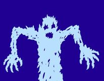 Scary ghost silhouette draws his hands. Vector illustration Royalty Free Stock Photography