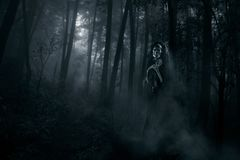 Scary ghost in the woods. Ghost in the middle of the woods / high contrast image stock photos