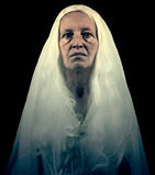 Scary Ghostly Woman Figure. On Black Background Royalty Free Stock Photography