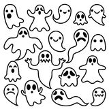 Scary ghosts design, Halloween characters  icons set Stock Image