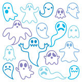 Scary ghosts design, Halloween characters icons set Royalty Free Stock Images