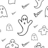 Scary ghosts seamless pattern. Scary and cute  ghosts seamless pattern. Vector illustration Royalty Free Stock Photos