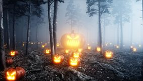 Scary gigant pumpkin in fog night forest. Fear and horror. Mistic and halloween concept. 3d rendering. stock illustration