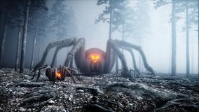 Scary gigant spider in fog night forest. Fear and horror. Mistic and halloween concept. 3d rendering. vector illustration
