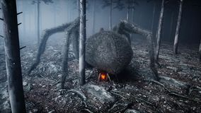 Scary gigant spider in fog night forest. Fear and horror. Mistic and halloween concept. 3d rendering. Scary gigant spider in fog night forest. Fear and horror stock illustration