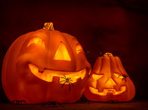 Scary glowing pumpkin Stock Images