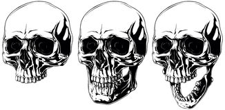 Scary graphic human skull with black eyes set Royalty Free Stock Photos