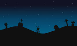 Scary graves halloween backgrounds silhouette Royalty Free Stock Photo