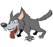 Scary gray wolf. Side cartoon illustration of grey or gray wolf with mouth open Royalty Free Stock Image