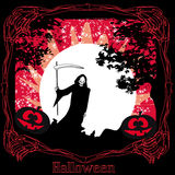Scary grim reaper in the light of the moon. Illustration Stock Images