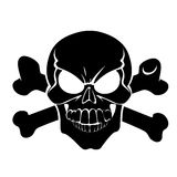 Scary grinning Jolly Roger with bones Stock Photo