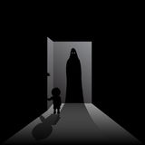 Scary Guest. Child opening the front door to a dark creature Royalty Free Stock Photography