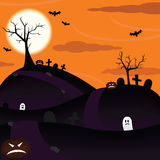 Scary Halloween. A scary illustration with Halloween things silhouetted on a dark hill at sunset including flying bats, tombstones, jack-o-lanterns, and dead Stock Photo
