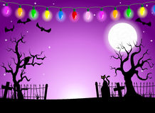 Scary halloween background with cemetery in the dark night Stock Photography
