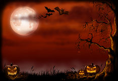 Scary Halloween background Illustration. Scary halloween background illustration with a  pumpkins and bats Royalty Free Stock Photos