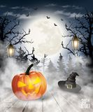 Scary Halloween background with pumpkin and moon. Vector
