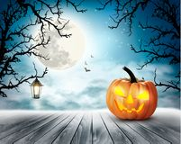 Scary Halloween background with pumpkin and moon. stock photography