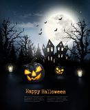 Scary Halloween background with pumpkins and moon. Stock Images