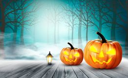 Scary Halloween background with pumpkins. Vector Stock Images