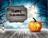 Scary Halloween background with pumpkins and wooden sign Royalty Free Stock Photography