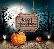 Scary Halloween background with a wooden sign. Vector royalty free illustration