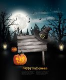 Scary Halloween background with a wooden sign. Royalty Free Stock Photos
