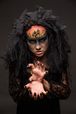 Scary Halloween Bride with Concept Scary Makeup. Halloween devil's bride. Portrait of young woman in dark artistic image with scary makeup, veil and terrible Royalty Free Stock Image