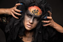 Scary Halloween Bride with Concept Scary Makeup Royalty Free Stock Image