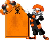Scary Halloween Clown inviting Stock Images