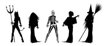Scary Halloween Costumes. Silhouettes of scary Halloween costumes on white