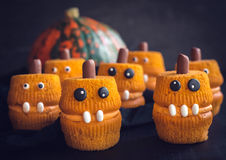 Scary halloween cup cakes. Served,selective focus Royalty Free Stock Photography