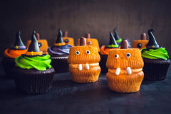 Scary Halloween cup cakes. Selective focus Stock Photography