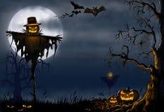 Scary Halloween digital Illustration. Scary halloween illustration with a scarecrow, pumpkins and bats Royalty Free Stock Photography